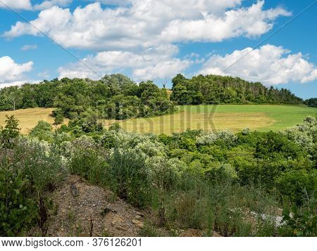 Scenic Landscape In Washington County In Southwest Pennsylvania, Near Pittsburgh.  Rolling Hills Of