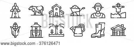 12 Set Of Linear In The Village Icons. Thin Outline Icons Such As Cottage, Watering Can, Silo, Farme