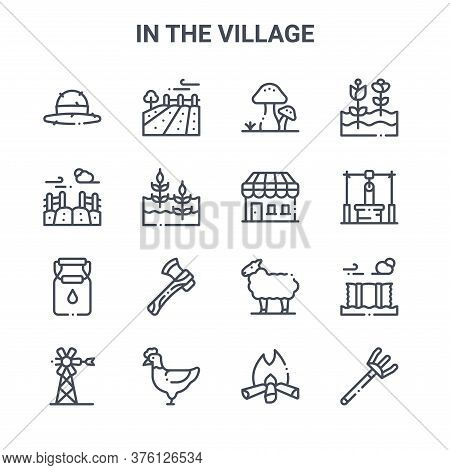 Set Of 16 In The Village Concept Vector Line Icons. 64x64 Thin Stroke Icons Such As Field, Field, Wa