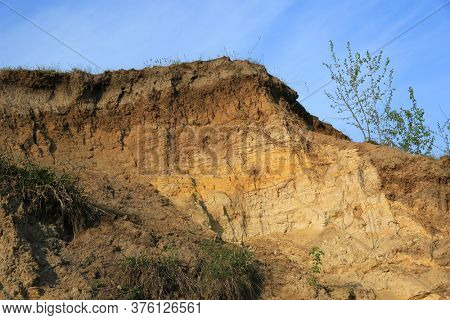 view on geological features of the soil - earth, sand, clay