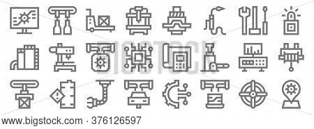 Manufacturing Line Icons. Linear Set. Quality Vector Line Set Such As Placeholder, Laptop, Car Manuf