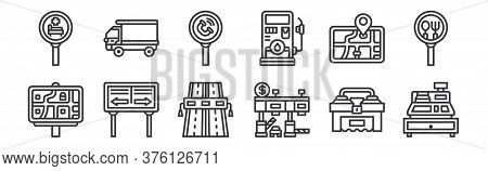 12 Set Of Linear Motorway Icons. Thin Outline Icons Such As Cashier Machine, Toll Road, Road, Gps, E