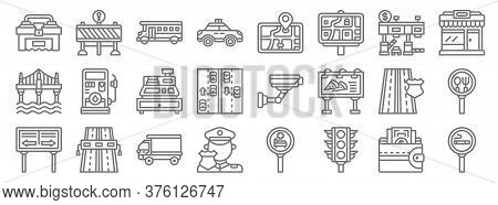 Motorway Line Icons. Linear Set. Quality Vector Line Set Such As Smoking Area, Traffic Light, Police