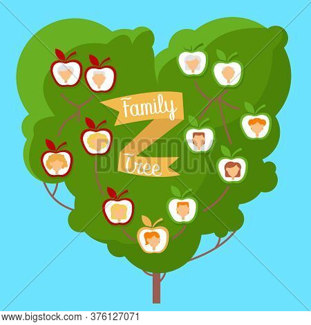 Cartoon Color Family Genealogic Tree With Portrait Concept Flat Design Style On A Blue. Vector Illus