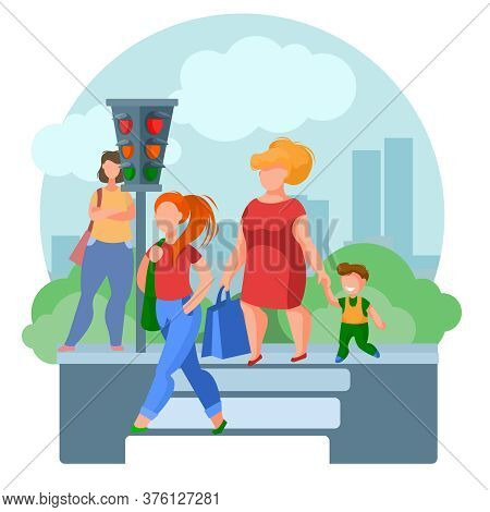 Cartoon Color Characters People Pedestrians And Landscape Scene Concept Flat Design Style. Vector Il