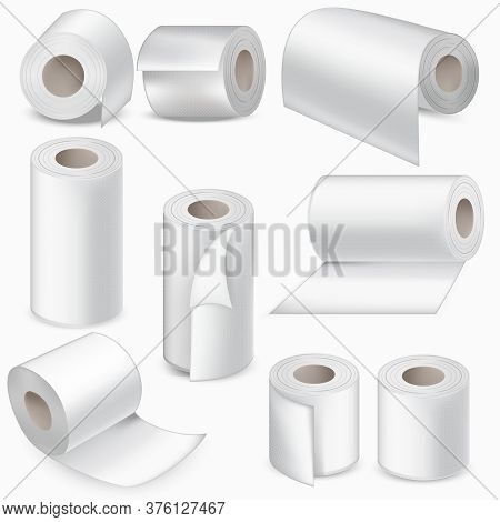 Realistic Detailed 3d White Blank Toilet Paper Roll Set For Restroom And Kitchen. Vector Illustratio