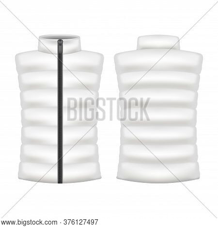 Realistic Detailed 3d White Blank Vest Jacket Empty Template Mockup Set For Sport And Job. Vector Il