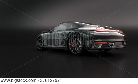 luxury black sports car on black. nobody around. 3d render background