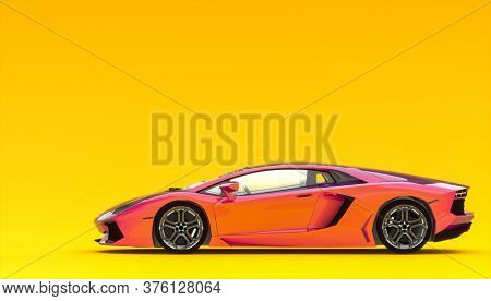 luxury sports car on yellow background. nobody around. speed concept. 3d render.