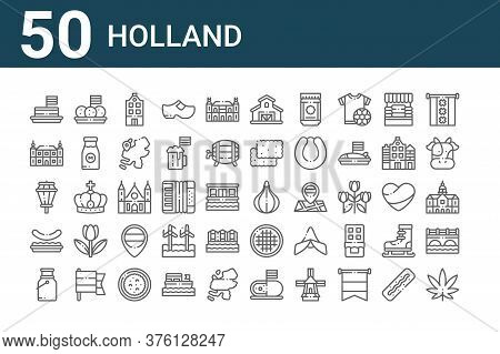 Set Of 50 Holland Icons. Outline Thin Line Icons Such As Marijuana, Milk, Stamppot, Street Lights, B