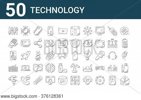 Set Of 50 Technology Icons. Outline Thin Line Icons Such As Communications, Caliper, Keyboard, Woofe