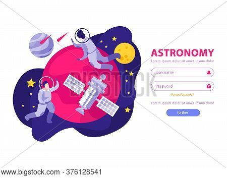 Astronomy Space People Flat Background Web Site Authentication Page With Fields For Entering Usernam
