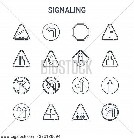 Set Of 16 Signaling Concept Vector Line Icons. 64x64 Thin Stroke Icons Such As Turn Left, Narrow Roa