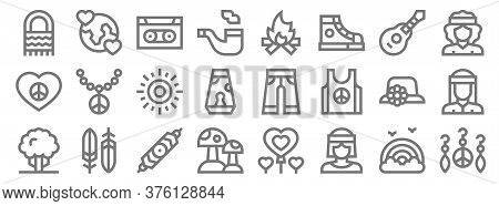 Hippies Line Icons. Linear Set. Quality Vector Line Set Such As Earrings, Hippy, Mushroom, Tree, Pam