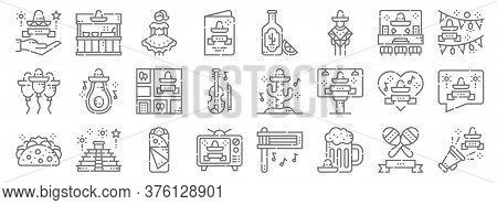 Cinco De Mayo Line Icons. Linear Set. Quality Vector Line Set Such As Cinco De Mayo, Beer, Cinco De