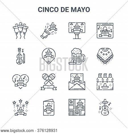 Set Of 16 Cinco De Mayo Concept Vector Line Icons. 64x64 Thin Stroke Icons Such As Cinco De Mayo, Vi