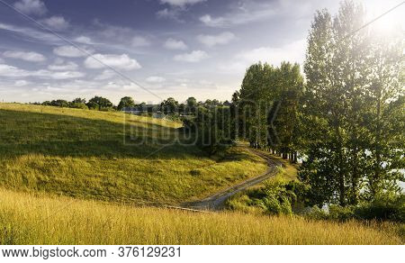 Amazing Nature Scenery. Summer Landscape At Sunny Day. Perfect Countryside Scenery With Blue Sky And