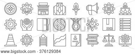 Management Line Icons. Linear Set. Quality Vector Line Set Such As Web Management, Direction, Statis