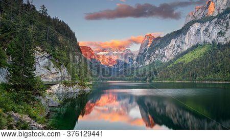 Gosausee, European Alps. Panoramic Image Of Gosausee, Austria Located In European Alps At Summer Sun