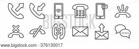 12 Set Of Linear Communication Icons. Thin Outline Icons Such As Bubble Chat, Mail, Communication, S