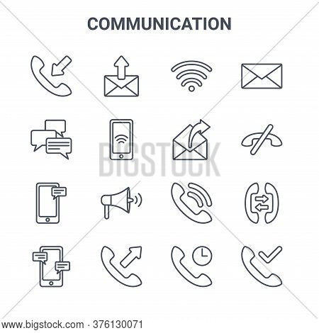 Set Of 16 Communication Concept Vector Line Icons. 64x64 Thin Stroke Icons Such As Mail, Messages, C
