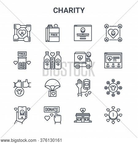 Set Of 16 Charity Concept Vector Line Icons. 64x64 Thin Stroke Icons Such As Charity, Pills, Charity