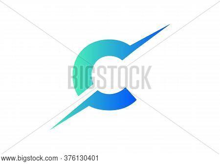 C Letter Logo With Slice Concept Vector. Colorful Slice C Letter Logo Modern, Minimal, Elegant, Bran