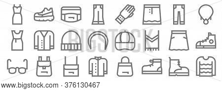 Fashion Line Icons. Linear Set. Quality Vector Line Set Such As Sweater, Sport Shoe, Coat, Glasses,