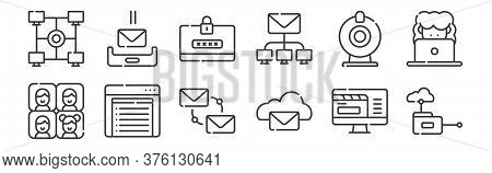 12 Set Of Linear Telecommuting Icons. Thin Outline Icons Such As Cloud Computing, Cloud, Intranet, W