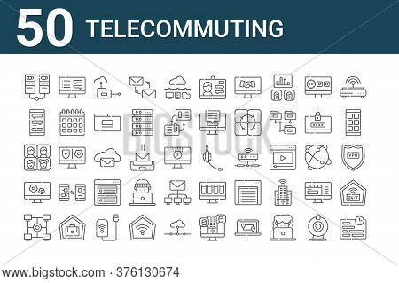 Set Of 50 Telecommuting Icons. Outline Thin Line Icons Such As Deadline, Intranet, Configuration, Me