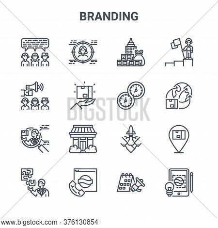 Set Of 16 Branding Concept Vector Line Icons. 64x64 Thin Stroke Icons Such As Target, Advertise, Dis