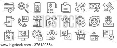Ecommerce Line Icons. Linear Set. Quality Vector Line Set Such As Return Box, Shopping Cart, Cashbac
