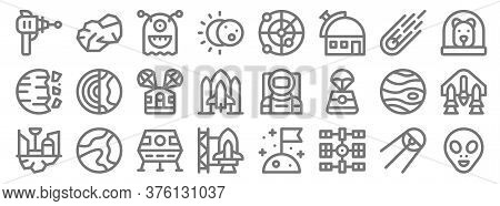 Space Line Icons. Linear Set. Quality Vector Line Set Such As Alien, Space Station, , Space Colony,