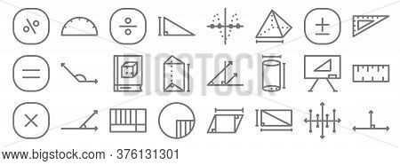 Mathematics Line Icons. Linear Set. Quality Vector Line Set Such As Right Angle, Rectangular, Circle