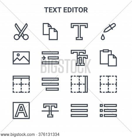 Set Of 16 Text Editor Concept Vector Line Icons. 64x64 Thin Stroke Icons Such As Copy, Picture, Past