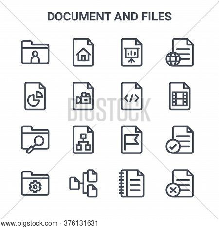 Set Of 16 Document And Files Concept Vector Line Icons. 64x64 Thin Stroke Icons Such As Homepage, An