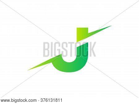 J Letter Logo With Slice Concept Vector. Colorful Slice J Letter Logo Modern, Minimal, Elegant, Bran