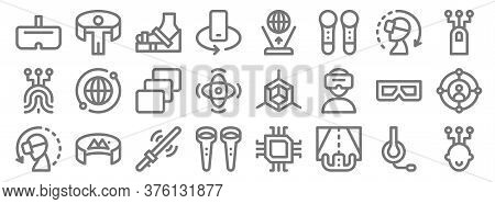 Virtual Reality Line Icons. Linear Set. Quality Vector Line Set Such As Connection, Steering Wheel,