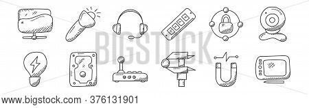 12 Set Of Linear Technology Icons. Thin Outline Icons Such As Graphic Tablet, Caliper, Hard Drive, N