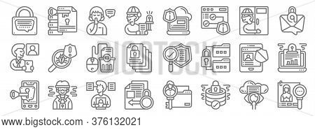 Confidential Information Line Icons. Linear Set. Quality Vector Line Set Such As Personal Informatio