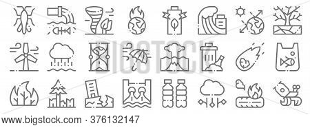 Climate Change Line Icons. Linear Set. Quality Vector Line Set Such As Hermit Crab, Hail, Hydro Powe