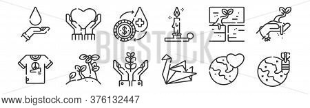 12 Set Of Linear Hope Icons. Thin Outline Icons Such As Worldwide, Origami, Plant, Hope, Exchange, L