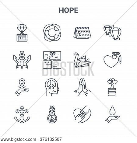 Set Of 16 Hope Concept Vector Line Icons. 64x64 Thin Stroke Icons Such As Lifebuoy, Hope, Grenade, H