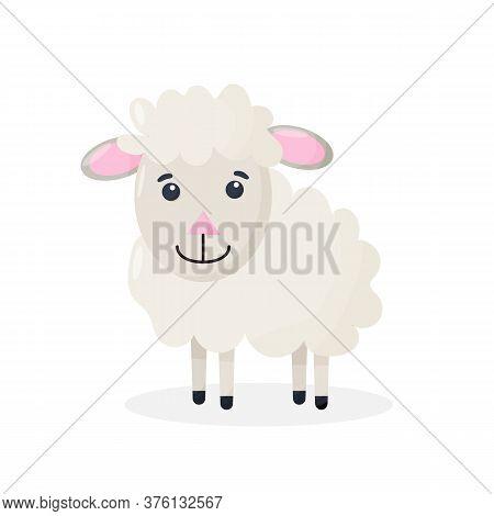 Cute Cartoon Sheep Mascot Character. Vector Isolated Illustration Of Fluffy Sheep.