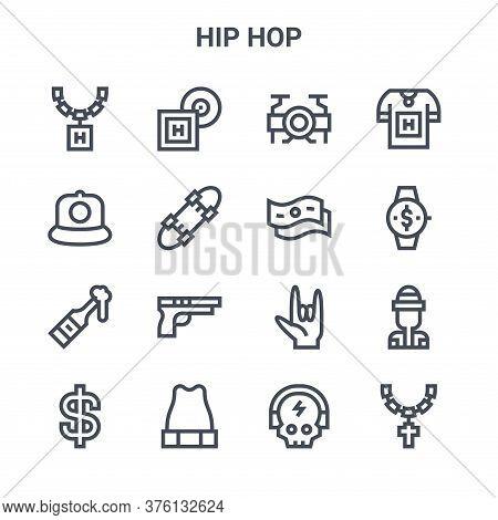 Set Of 16 Hip Hop Concept Vector Line Icons. 64x64 Thin Stroke Icons Such As Lp, Rap, Wristwatch, Ha