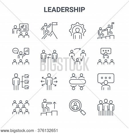 Set Of 16 Leadership Concept Vector Line Icons. 64x64 Thin Stroke Icons Such As Climbing, Presentati