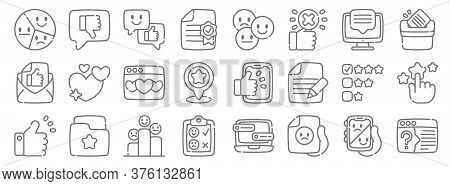 Feedback And Testimonials Line Icons. Linear Set. Quality Vector Line Set Such As Question, Bad Revi