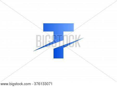 T Letter Logo With Slice Concept Vector. Colorful Slice T Letter Logo Modern, Minimal, Elegant, Bran