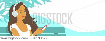 A Girl With Closed Eyes Listens With Pleasure To Music On Headphones. Sits On A Street Bench. Vector