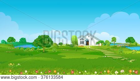 Summer Glade With A White House, Ponds, Green Trees And Flowers. Summer Country Landscape. Vector Il